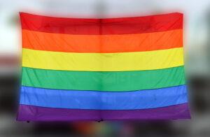 Ths is the LGBT/Gay Pride flag in Stockholm, during Stockholm Pride 2015.