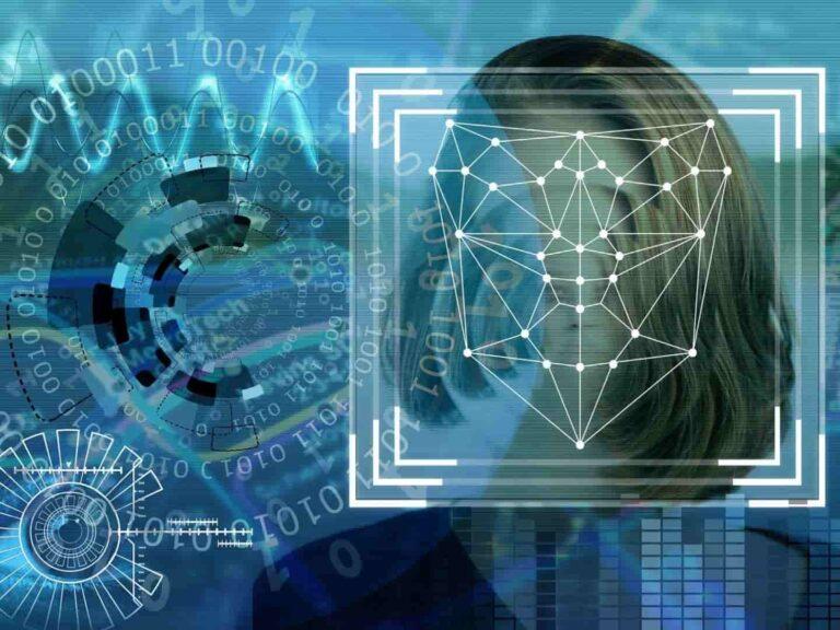 Illustrazione su riconoscimento facciale e sorveglianza di massa